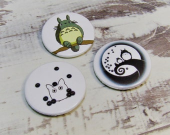 Totoro, Pin Badge Buttons, Whimsical Set of Studio Ghibli, Set of 3, 25mm, My Neighbour Totoro. Miyazaki, Anime, Comic con