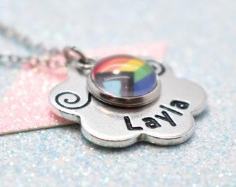 Floral Gay Pride, Personalised Necklace - New Pride Flag