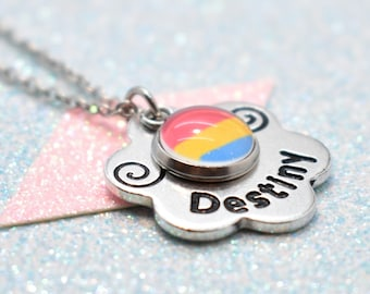 Floral Pansexual Pride, Personalised Necklace