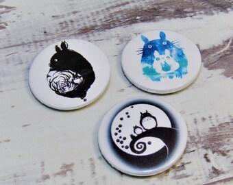 Totoro, Pin Badge Buttons, Artisan Set of Studio Ghibli, Set of 3, 25mm, My Neighbour Totoro. Miyazaki, Anime, Comic con