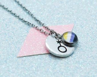 Non Binary Necklace, Proud LGBT, Gay Pride, Gender Queer Pride, LGBT Pride, Gender Neutral Jewellery, Transgender