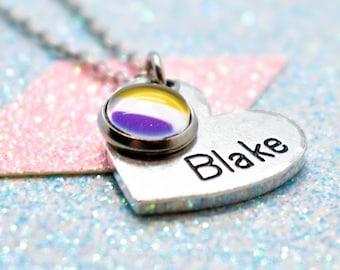 Personalised Non Binary Pride Heart Necklace