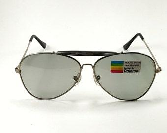 7297b3242f Vintage Polaroid Sunglasses Aviator 100% UV Blocking Unworn Condition
