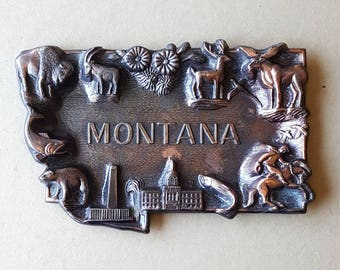 Vintage c. 1950s Montana Souvenir Tray Metal Copper Highlights