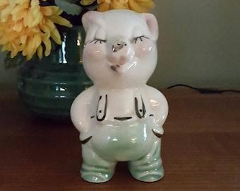 Piggy Bank Pig in Overalls Ceramic