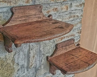 Pair of wooden shelves  , antique Wood , handmade in Italy , rustic style