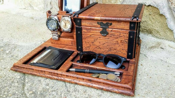 wooden phone stand , reclaimed wood docking station with box , watch holder , mens valet tray