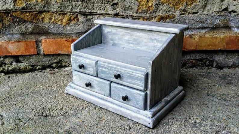 Italian jewelry box with drawers and hooks Shabby chic handmade wooden jewelry box
