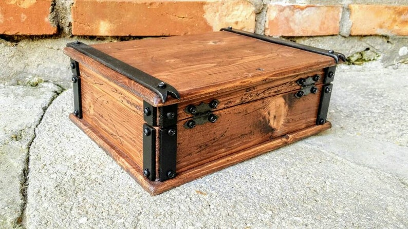 jewelry box with tray reclaimed wood keepsake box wood and metal box made in Italy