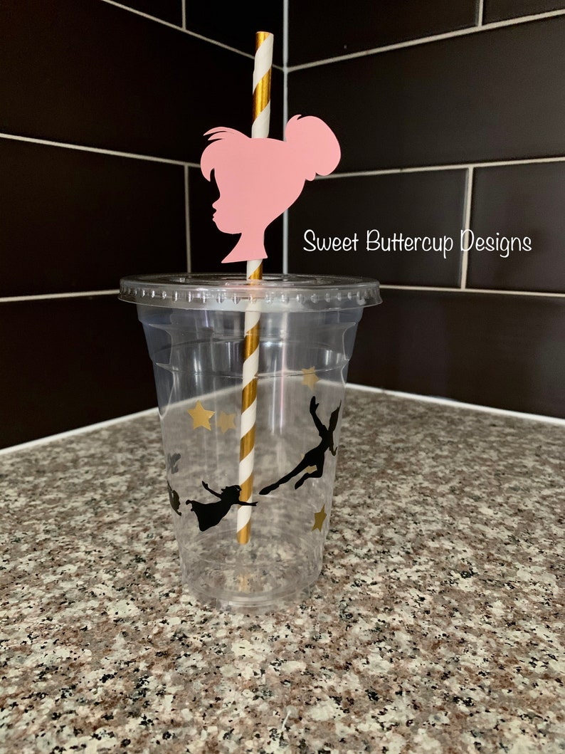 Peter Pan Cups and Straws Neverland Cups and Straws Peter Pan Party Decorations