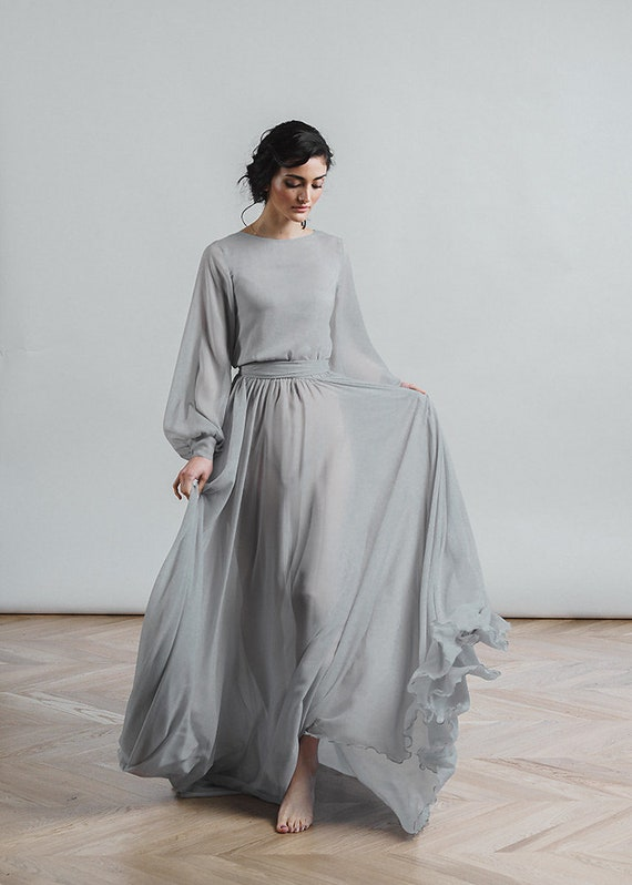 Grey Wedding Dress Nirvana Boho Bridal Gown Chiffon Skirt Etsy