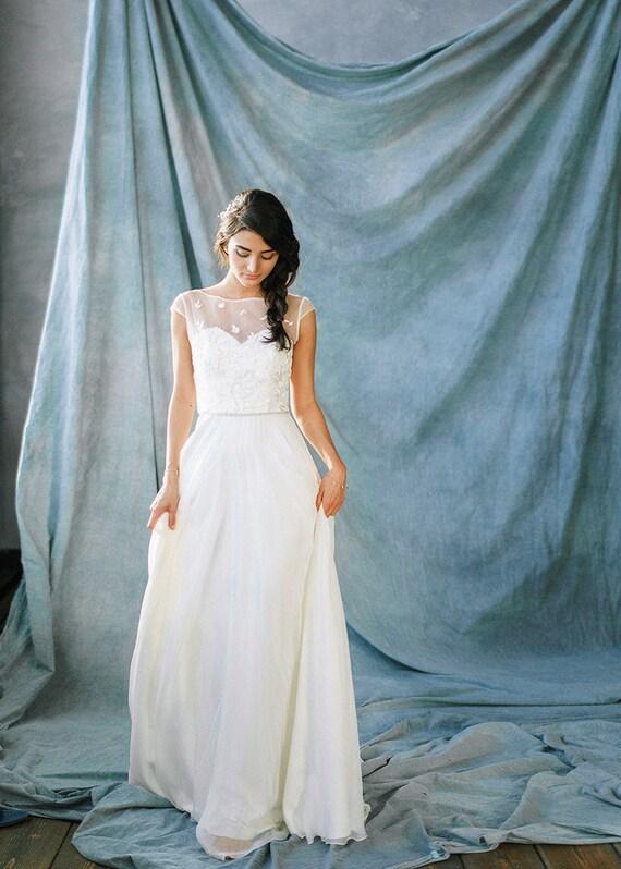 Lace Wedding Dresses Bohemian Chiffon White Simple Wedding Etsy