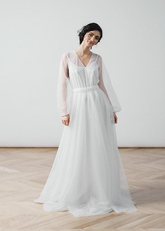 2919bba61150 Simple wedding dress boho dress long sleeve dress transformer
