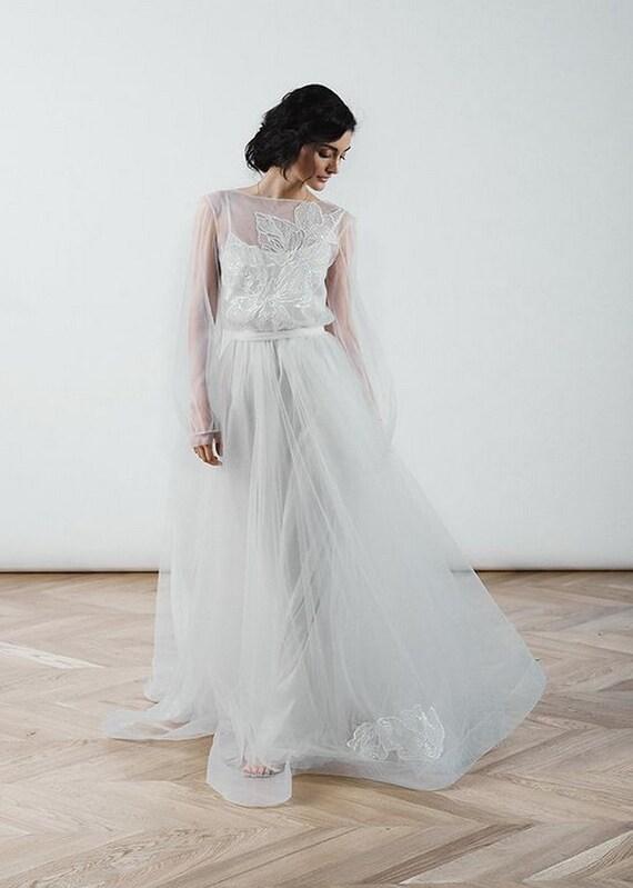 Koronkowa Suknia ślubna Fantasia Suknia ślubna Boho Prosta Etsy