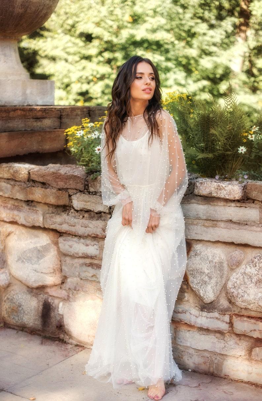 23feafce89ae Abito da sposa in rilievo ricamato Atlantis unico boho abito