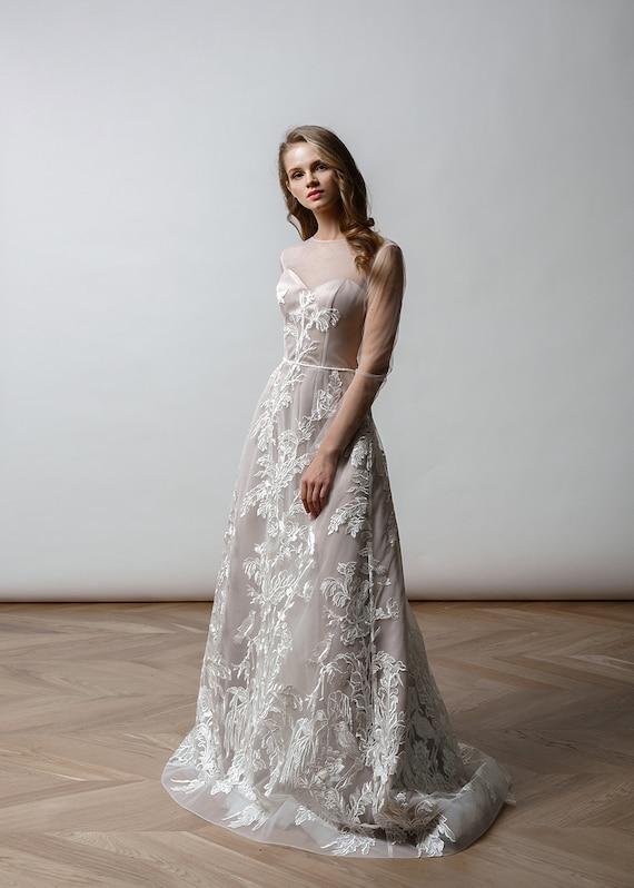 Bohemian Long sleeve wedding dress Simple wedding gown Boho | Etsy