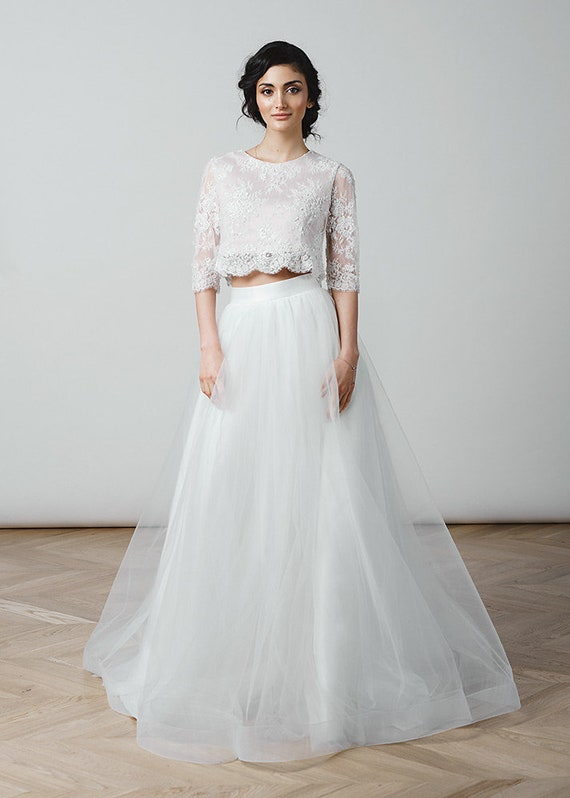 Crop Top Wedding Dress Tulle Dress Lace Top Tulle Skirt Simple Etsy