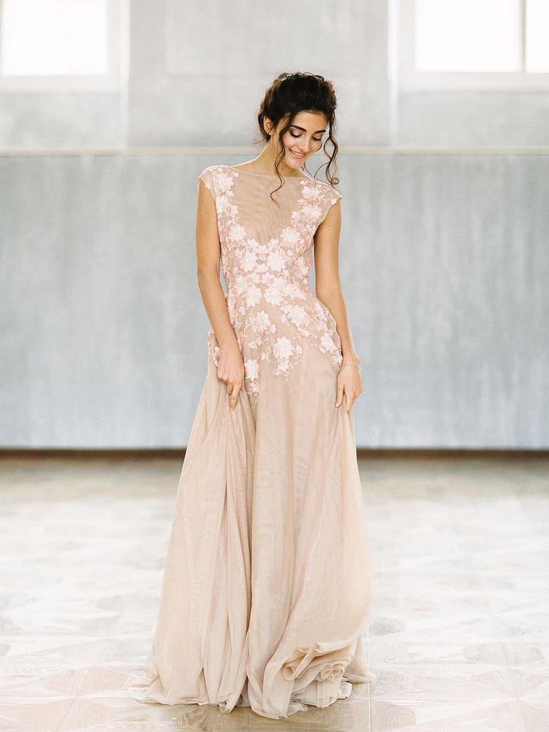 54ebb2397e8c Evening dress Sonet V deep cut Long evening dress beige