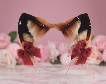 Faux Fur Fox Ears with Piercings and Rhinestones in Orange, Beige and Black with Red Bows - Ready To Ship!