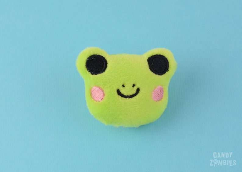 HAIR CLIP FROG  Kawaii green Frog Frogs embroidered on soft image 0