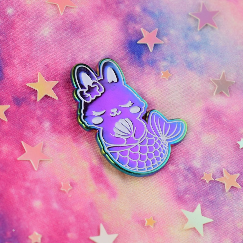 ENAMEL PIN BUNNY Rainbow Metal Anodized Mermaid Merbunny Enamel Pin Kawaii Bunny mermaids pastel colors soft enamel pin