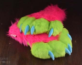 Puffy Paws Faux Fur Fursuit Costume Cosplay XXL Neon Colored Puffy Paws with Soft Claws in Hot Pink Lime Green Turquoise Blue Ready To Ship