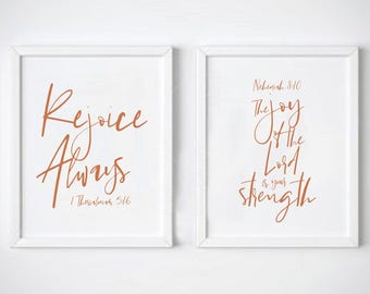 Set of Two Christian 'Joy' Prints, Christian Print, Bible Calligraphy, Christian Wall Art, Home Decor, Religious Gift - Eco Friendly
