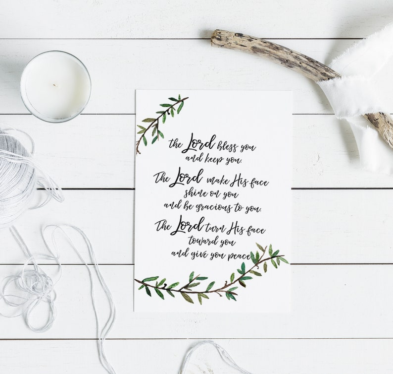 The Lord Bless You Christian Card Calligraphy Bible Verse Blank Faith Wedding