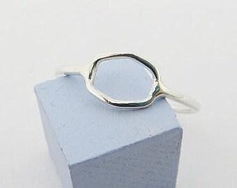 Irregular Shaped Silver Hexagon Ring | Geometric Ring |  Stacking Ring *MADE TO ORDER*