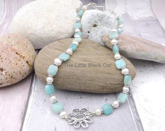 Amazonite Pearl Necklace, Amazonite Jewellery, Pearl Jewellery, Gemstone Necklace, Green Necklace, Womens Gift, Ladies Present, Gift For Her