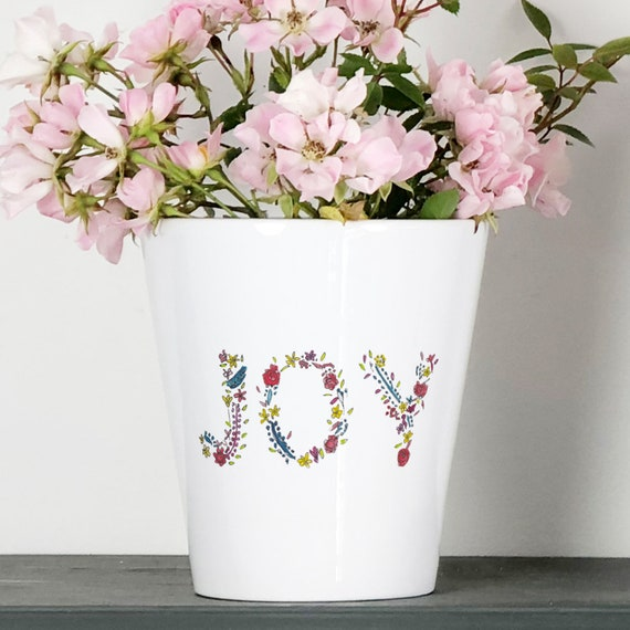 Personalised Fully Floral Plant Pot Illustrated Flower Name Etsy