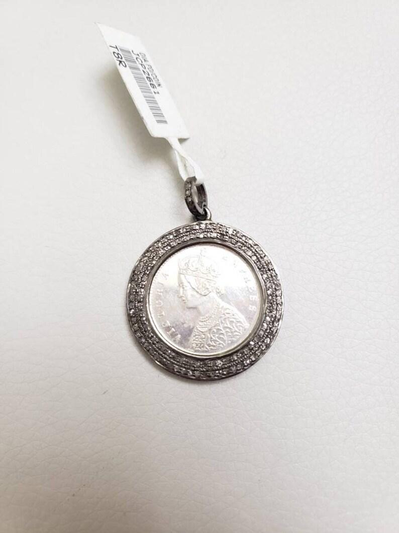 Coin pendant diamond  coin pendant silver jewelry silver coin pendant