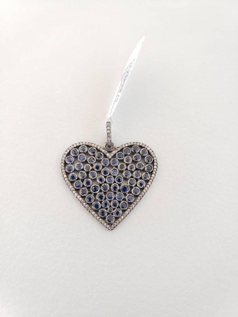 heart pendant pave silver heart blue sapphire  heart pendant Diamond  sapphire heart