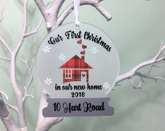 Our First Christmas In New Home Decoration, New Home Bauble, Personalised Couples Gift, 1st House Xmas Tree Decoration, New Home Ornament.