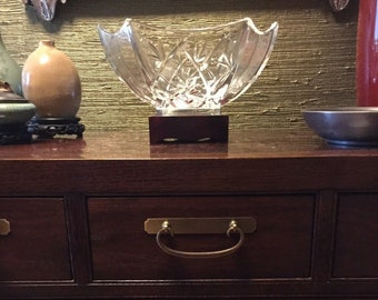 Vintage WATERFORD Crystal Bamboo Collection Bowl Rosewood Base MINT CONDITION
