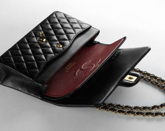 CHANEL Black Quilted Lambskin Vintage Small Classic Double Flap Bag MINT