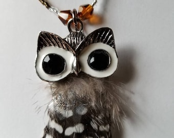 SOLD Owl Necklace Beaded Pendant Necklace Gifts Mothers Day Animal Necklaces Owl Jewelry Gifts Her Birthday Prom Artisan Gifts Girl
