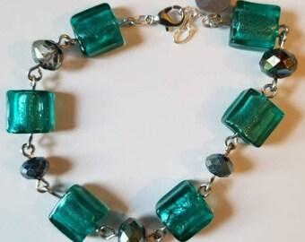 Teal and Blue Beaded Bracelet Mothers Day Bracelet Green Jewelry Handmade Bracelets Gift Her Birthday Anniversary Bridal Jewelry Graduation