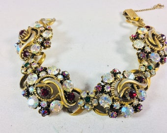 Vintage Florenza Signed Aurora Borealis and Red Rhinestone Bracelet Mint Circa 1960's Antique Jewelry Vintage Bracelets Antique Bracelets