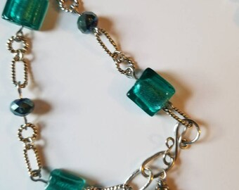 Teal and Silver Beaded Bracelet MoMs Day Bracelet Green Jewelry Handmade Bracelets Gift Her Birthday Anniversary Bridal Jewelry Graduation