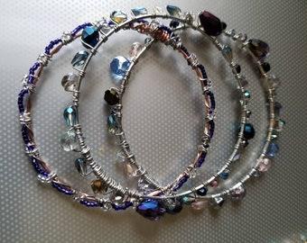 Swarovski Crystal Bangle Bracelets Green Bracelet Purple Bracelet Green Bracelet Gemstone Birthstone Bracelet Sale Jewelry Gift Prom Her