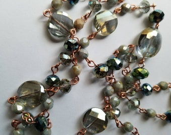 Copper and Green Czech Glass Necklace Green Jewelry Birthstone Necklace Handmade Necklaces Gifts Birthday Her Anniversary Wedding Jewelry