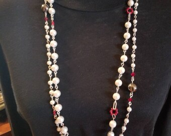 Pearl Necklace Set French Designer Inspired In White, Black and Red Necklaces Prom Wedding Jewelry Handmade Pearls Gifts for Her