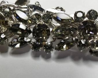 "Vintage  DeLizza & Elster ""Juliana"" Smokey Olive ""Black Diamond"" Bracelet 1950's MINT CONDITION Antique Juliana Jewelry D and E Bracelets"