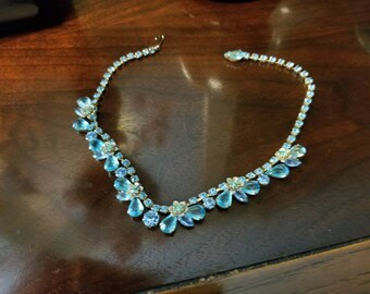 Vintage Juliana D and E Gold Tone Aqua Blue Crystal  Rhinestone Cluster Necklace Circa 1960 Antique Juliana Necklace Blue Necklaces Vintage