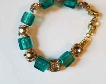 Teal Topaz Gold Beaded Bracelet Gold Bracelet Mothers Day Gifts Gemstone Jewelry Chunky Layering Bracelet Dress Jewelry Green and Gold Beads