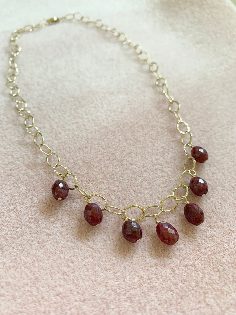 14K Gold Filled and Ruby Necklace