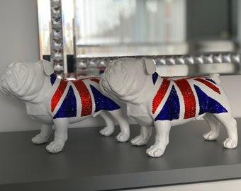 Premium Crystal Embellished Union Jack Bulldog Statue/Ornament.