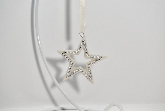 Swarovski ® Crystal Embellished Ceramic Star Decoration - hanging decorations - christmas decoration