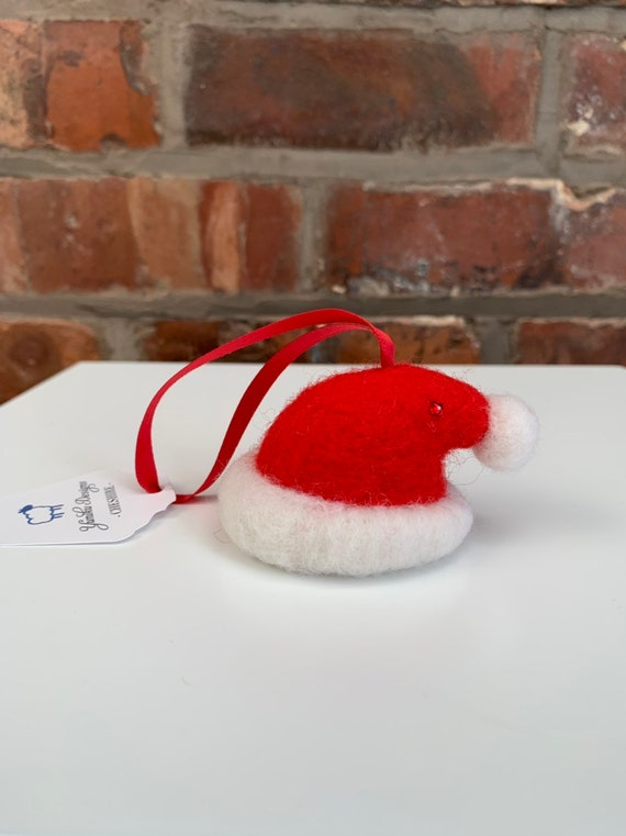Needle Felted Santa Hat Decoration.